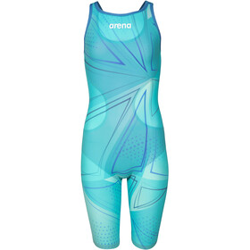 arena R-EVO ONE Full Body Short Leg Open Back Suit LTD Edition 2019 Girls, blue glass